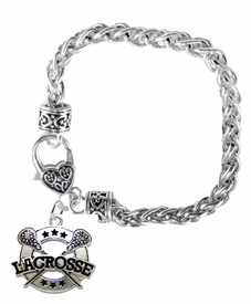 <BR>    WHOLESALE LACROSSE JEWELRY  <bR>                    EXCLUSIVELY OURS!!  <Br>               AN ALLAN ROBIN DESIGN!!  <BR>         LEAD, NICKEL, LEAD, & CADMIUM FREE!!  <BR>   W1723B1 - BEAUTIFUL SILVER TONE AND  <BR>                CRYSTAL LACROSSE HEART <BR>CHARM ON HEART LOBSTER CLASP BRACELET  <Br>            FROM $5.98 TO $12.85 �2015>