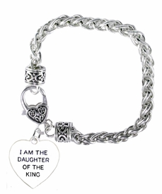 "<BR>    WHOLESALE ""I AM THE DAUGHTER OF THE KING"" JEWELRY  <bR>                                        EXCLUSIVELY OURS!!  <Br>                                     AN ALLAN ROBIN DESIGN!!  <BR>                               NICKEL, LEAD, & CADMIUM FREE!!  <BR>                         W1730B1 - ANTIQUED SILVER TONE AND  <BR>                "" I AM THE DAUGHTER OF THE KING"" SMALL HEART <BR>                        CHARM ON HEART LOBSTER CLASP BRACELET  <Br>                                    FROM $5.98 TO $12.85 �2015"