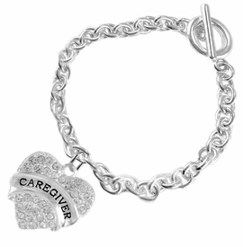 "<BR>WHOLESALE CRYSTAL CAREGIVER HEART JEWELRY     <br>                           HYPOALLERGENIC     <BR>            NICKEL, LEAD & CADMIUM FREE!!     <BR>  W1757B5 - SILVER TONE AND CLEAR CRYSTAL    <BR>     BEAUTIFUL ""CAREGIVER"" HEART CHARM ON     <BR>         CHAIN LINK TOGGLE CLASP BRACELET    <br>               FROM $5.98 TO $12.85 �2015"