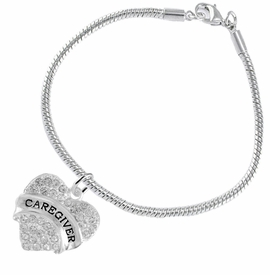 "<BR>WHOLESALE CRYSTAL CAREGIVER HEART JEWELRY     <br>                           HYPOALLERGENIC     <BR>            NICKEL, LEAD & CADMIUM FREE!!     <BR>  W1757B7 - SILVER TONE AND CLEAR CRYSTAL    <BR>     BEAUTIFUL ""CAREGIVER"" HEART CHARM ON     <BR>       SNAKE CHAIN LOBSTER CLASP BRACELET    <br>               FROM $5.98 TO $12.85 �2015"