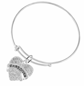 "<BR>WHOLESALE CRYSTAL CAREGIVER HEART JEWELRY     <br>                           HYPOALLERGENIC     <BR>            NICKEL, LEAD & CADMIUM FREE!!     <BR>  W1757B9 - SILVER TONE AND CLEAR CRYSTAL    <BR>     BEAUTIFUL ""CAREGIVER"" HEART CHARM ON     <BR>      ADJUSTABLE SOLID THIN WIRE BRACELET    <br>               FROM $5.98 TO $12.85 �2015"