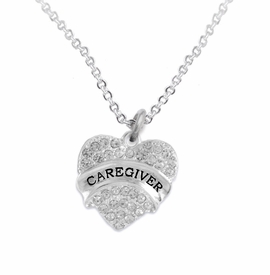 "<BR>WHOLESALE CRYSTAL CAREGIVER HEART JEWELRY     <br>                           HYPOALLERGENIC     <BR>            NICKEL, LEAD & CADMIUM FREE!!     <BR>  W1757N1 - SILVER TONE AND CLEAR CRYSTAL    <BR>     BEAUTIFUL ""CAREGIVER"" HEART CHARM ON     <BR>        CHAIN LINK LOBSTER CLASP NECKLACE    <br>               FROM $5.98 TO $12.85 �2015"