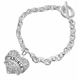 "<BR>  THE ""PERFECT GIFT"" FOR YOUR ABUELITA  <BR>   CRYSTAL ""ABUELA"" EXCLUSIVELY OURS!!  <br>                        HYPOALLERGENIC  <BR>         NICKEL, LEAD & CADMIUM FREE!!  <BR>   W1759B5 - ""ABUELA"" CRYSTAL HEART ON  <BR>SILVER TONE CHAIN LINK TOGGLE BRACELET  <BR>            FROM $5.98 TO $12.85 ©2015"