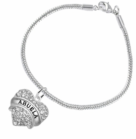 "<BR>  THE ""PERFECT GIFT"" FOR YOUR ABUELITA  <BR>   CRYSTAL ""ABUELA"" EXCLUSIVELY OURS!!  <br>                        HYPOALLERGENIC  <BR>         NICKEL, LEAD & CADMIUM FREE!!  <BR>   W1759B7 - ""ABUELA"" CRYSTAL HEART ON  <BR>      SILVER TONE SNAKE CHAIN BRACELET  <BR>            FROM $5.98 TO $12.85 ©2015"