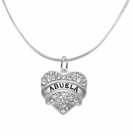 "<BR>  THE ""PERFECT GIFT"" FOR YOUR ABUELITA  <BR>   CRYSTAL ""ABUELA"" EXCLUSIVELY OURS!!  <br>                        HYPOALLERGENIC  <BR>         NICKEL, LEAD & CADMIUM FREE!!  <BR>   W1759N2 - ""ABUELA"" CRYSTAL HEART ON  <BR>       SILVER TONE SNAKE CHAIN NECKLACE  <BR>            FROM $5.98 TO $12.85 ©2015"