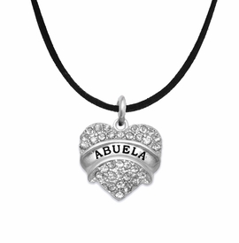 "<BR>  THE ""PERFECT GIFT"" FOR YOUR ABUELITA  <BR>   CRYSTAL ""ABUELA"" EXCLUSIVELY OURS!!  <br>                        HYPOALLERGENIC  <BR>         NICKEL, LEAD & CADMIUM FREE!!  <BR>   W1759N3 - ""ABUELA"" CRYSTAL HEART ON  <BR>      BLACK SUEDE LEATHERETTE NECKLACE  <BR>            FROM $5.98 TO $12.85 ©2015"