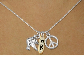 "<bR>    W17745N - SILVER TONE SNAKE CHAIN<Br>          ""PEACE"" PEACE SIGN AND DOVE<BR>        NECKLACE FROM $5.06 TO $11.25"