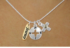 "<bR>    W17747N - SILVER TONE SNAKE CHAIN<Br>      ""JOURNEY"" CROSS AND COMPASS<BR>      NECKLACE FROM $5.06 TO $11.25"