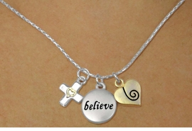 "<bR>    W17748N - SILVER TONE SNAKE CHAIN<Br>""BELIEVE"" CROSS WITH HEART AND HEART<BR>          NECKLACE FROM $5.06 TO $11.25"