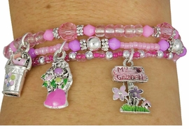 W17775BA - CHILDREN'S TRIPLE-BRACELET<Br>  LEAD & NICKEL FREE 4-COLOR GARDENING<Br>                 STRETCH CHARM BRACELET <Br>        ASSORTMENT FROM $3.94 TO $7.85