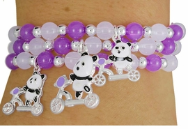 W17776BA - CHILDREN'S TRIPLE-BRACELET<Br>      LEAD & NICKEL FREE 4-COLOR PANDA<Br>                 STRETCH CHARM BRACELET <Br>        ASSORTMENT FROM $3.35 TO $6.75