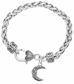 <BR>         WHOLESALE COSTUME CHARM JEWELRY  <BR>                      EXCLUSIVELY OURS!!     <Br>                 AN ALLAN ROBIN DESIGN!!    <br>                          HYPOALLERGENIC  <BR>            NICKEL, LEAD & CADMIUM FREE!     <BR>W1794B1 - ANTIQUED CRESCENT MOON CHARM ON  <BR>     HEART-SHAPED LOBSTER CLASP BRACELET  <BR>              FROM $6.23 TO $11.75 �2015