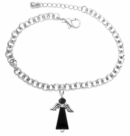 <BR>      WHOLESALE COSTUME ANGEL JEWELRY <BR>                   EXCLUSIVELY OURS!!    <Br>              AN ALLAN ROBIN DESIGN!!    <br>                       HYPOALLERGENIC <BR>         NICKEL, LEAD & CADMIUM FREE!    <BR> W1795B2 - JET CRYSTAL ANGEL CHARM ON <BR>    CHAIN LINK LOBSTER CLASP BRACELET <BR>           FROM $7.90 TO $12.50 �2015