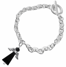 <BR>      WHOLESALE COSTUME ANGEL JEWELRY <BR>                   EXCLUSIVELY OURS!!    <Br>              AN ALLAN ROBIN DESIGN!!    <br>                       HYPOALLERGENIC <BR>         NICKEL, LEAD & CADMIUM FREE!    <BR> W1795B5 - JET CRYSTAL ANGEL CHARM ON <BR>    CHAIN LINK TOGGLE CLASP BRACELET <BR>           FROM $7.90 TO $12.50 �2015