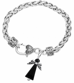 <BR> WHOLESALE DARK ANGEL COSTUME JEWELRY  <BR>                   EXCLUSIVELY OURS!!     <Br>              AN ALLAN ROBIN DESIGN!!     <br>                       HYPOALLERGENIC  <BR>         NICKEL, LEAD & CADMIUM FREE!     <BR> W1796B1 - JET CRYSTAL ANGEL CHARM ON  <BR>  HEART SHAPED LOBSTER CLASP BRACELET  <BR>           FROM $7.90 TO $12.50 �2015