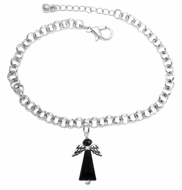 <BR> WHOLESALE DARK ANGEL COSTUME JEWELRY  <BR>                   EXCLUSIVELY OURS!!     <Br>              AN ALLAN ROBIN DESIGN!!     <br>                       HYPOALLERGENIC  <BR>         NICKEL, LEAD & CADMIUM FREE!     <BR> W1796B2 - JET CRYSTAL ANGEL CHARM ON  <BR>  CHAIN LINK LOBSTER CLASP BRACELET  <BR>           FROM $7.90 TO $12.50 �2015