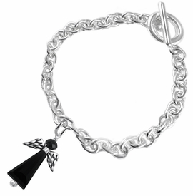 <BR> WHOLESALE DARK ANGEL COSTUME JEWELRY  <BR>                   EXCLUSIVELY OURS!!     <Br>              AN ALLAN ROBIN DESIGN!!     <br>                       HYPOALLERGENIC  <BR>         NICKEL, LEAD & CADMIUM FREE!     <BR> W1796B5 - JET CRYSTAL ANGEL CHARM ON  <BR>     CHAIN LINK TOGGLE CLASP BRACELET  <BR>           FROM $7.90 TO $12.50 �2015