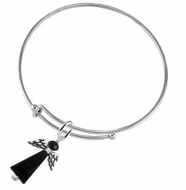 <BR> WHOLESALE DARK ANGEL COSTUME JEWELRY  <BR>                   EXCLUSIVELY OURS!!     <Br>              AN ALLAN ROBIN DESIGN!!     <br>                       HYPOALLERGENIC  <BR>         NICKEL, LEAD & CADMIUM FREE!     <BR> W1796B9 - JET CRYSTAL ANGEL CHARM ON  <BR>  ADJUSTABLE THIN SOLID WIRE BRACELET  <BR>           FROM $7.90 TO $12.50 �2015