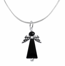 <BR> WHOLESALE DARK ANGEL COSTUME JEWELRY  <BR>                   EXCLUSIVELY OURS!!     <Br>              AN ALLAN ROBIN DESIGN!!     <br>                       HYPOALLERGENIC  <BR>         NICKEL, LEAD & CADMIUM FREE!     <BR> W1796N2 - JET CRYSTAL ANGEL CHARM ON  <BR>   SNAKE CHAIN LOBSTER CLASP NECKLACE <BR>           FROM $7.90 TO $12.50 �2015