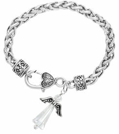 <BR>      WHOLESALE COSTUME ANGEL JEWELRY  <BR>                   EXCLUSIVELY OURS!!     <Br>              AN ALLAN ROBIN DESIGN!!    <br>                       HYPOALLERGENIC  <BR>         NICKEL, LEAD & CADMIUM FREE!     <BR>  W1797B1 - AB CRYSTAL ANGEL CHARM ON  <BR>  HEART-SHAPED LOBSTER CLASP BRACELET  <BR>           FROM $7.90 TO $12.50 �2015