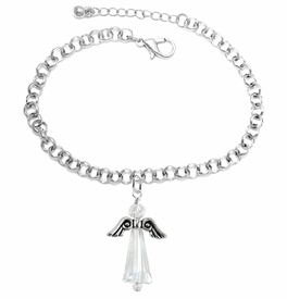 <BR>      WHOLESALE COSTUME ANGEL JEWELRY  <BR>                   EXCLUSIVELY OURS!!     <Br>              AN ALLAN ROBIN DESIGN!!    <br>                       HYPOALLERGENIC  <BR>         NICKEL, LEAD & CADMIUM FREE!     <BR>  W1797B2 - AB CRYSTAL ANGEL CHARM ON  <BR>    CHAIN LINK LOBSTER CLASP BRACELET  <BR>           FROM $7.90 TO $12.50 �2015