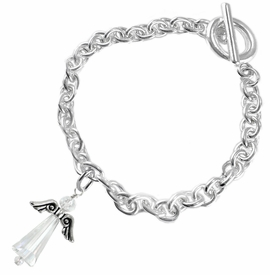 <BR>      WHOLESALE COSTUME ANGEL JEWELRY  <BR>                   EXCLUSIVELY OURS!!     <Br>              AN ALLAN ROBIN DESIGN!!    <br>                       HYPOALLERGENIC  <BR>         NICKEL, LEAD & CADMIUM FREE!     <BR>  W1797B5 - AB CRYSTAL ANGEL CHARM ON  <BR>     CHAIN LINK TOGGLE CLASP BRACELET  <BR>           FROM $7.90 TO $12.50 �2015