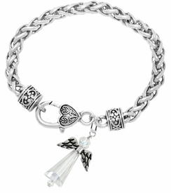 <BR>AURORA BOREALIS CRYSTAL ANGEL JEWELRY   <BR>                   EXCLUSIVELY OURS!!      <Br>              AN ALLAN ROBIN DESIGN!!    <br>                       HYPOALLERGENIC   <BR>         NICKEL, LEAD & CADMIUM FREE!      <BR>  W1798B1 - AB CRYSTAL ANGEL CHARM ON   <BR>  HEART-SHAPED LOBSTER CLASP BRACELET   <BR>           FROM $7.90 TO $12.50 �2015