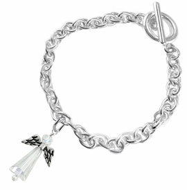 <BR>AURORA BOREALIS CRYSTAL ANGEL JEWELRY   <BR>                   EXCLUSIVELY OURS!!      <Br>              AN ALLAN ROBIN DESIGN!!    <br>                       HYPOALLERGENIC   <BR>         NICKEL, LEAD & CADMIUM FREE!      <BR>  W1798B5 - AB CRYSTAL ANGEL CHARM ON   <BR>    CHAIN LINK TOGGLE CLASP BRACELET   <BR>           FROM $7.90 TO $12.50 �2015