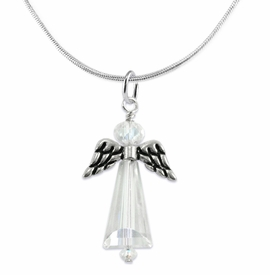 <BR>AURORA BOREALIS CRYSTAL ANGEL JEWELRY   <BR>                   EXCLUSIVELY OURS!!      <Br>              AN ALLAN ROBIN DESIGN!!    <br>                       HYPOALLERGENIC   <BR>         NICKEL, LEAD & CADMIUM FREE!      <BR> W1798N2 - AB CRYSTAL ANGEL CHARMS ON   <BR>     SILVER TONE SNAKE CHAIN NECKLACE   <BR>           FROM $7.90 TO $12.50 �2015