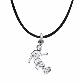 <BR>       WHOLESALE SOCCER TEAM SPORTS JEWELRY     <BR>                         EXCLUSIVELY OURS!!          <Br>                    AN ALLAN ROBIN DESIGN!!         <BR>                             HYPOALLERGENIC       <BR>               NICKEL, LEAD & CADMIUM FREE!          <BR>W1806N3 - 3D KICKING SOCCER PLAYER CHARM ON       <BR>    BLACK SUEDE NECKLACE WITH LOBSTER CLASP   <BR>                 FROM $6.23 TO $11.75 �2016