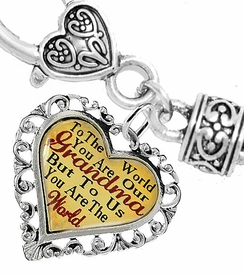 "<BR>              <i>""TO THE WORLD YOU ARE OUR GRANDMA,   <BR>                       BUT TO US YOU ARE THE WORLD""</i>  <BR>              BEAUTIFUL WORDS, BEAUTIFUL BRACELET  <BR>     HYPOALLERGENIC, NICKEL, LEAD, CADMIUM  FREE!  <BR>  W1819B1 - ""GRANDMA"" HEART CHARM ON HEART SHAPED  <BR>LOBSTER CLASP BRACELET FROM $7.90 TO $12.50 �2016"