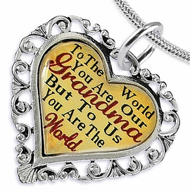 "<BR>         <i>""TO THE WORLD YOU ARE OUR GRANDMA,    <BR>                  BUT TO US YOU ARE THE WORLD""</i>   <BR>          BEAUTIFUL WORDS, BEAUTIFUL NECKLACE  <BR> HYPOALLERGENIC, NICKEL, LEAD, CADMIUM  FREE!   <BR>W1819N2 - ""GRANDMA"" HEART CHARM ON SNAKE CHAIN  <BR>          NECKLACE FROM $7.90 TO $12.50 �2016"