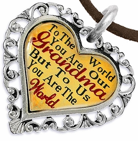 "<BR>         <i>""TO THE WORLD YOU ARE OUR GRANDMA,    <BR>                  BUT TO US YOU ARE THE WORLD""</i>   <BR>          BEAUTIFUL WORDS, BEAUTIFUL NECKLACE  <BR> HYPOALLERGENIC, NICKEL, LEAD, CADMIUM  FREE!   <BR>W1819N4 - ""GRANDMA"" HEART CHARM ON BROWN SUEDE <BR>          NECKLACE FROM $7.90 TO $12.50 �2016"