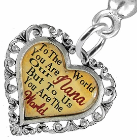 "<BR>             <i>""TO THE WORLD YOU ARE OUR NANA,        <BR>                  BUT TO US YOU ARE THE WORLD""</i>       <BR>          BEAUTIFUL WORDS, BEAUTIFUL EARRINGS <BR> HYPOALLERGENIC, NICKEL, LEAD, CADMIUM  FREE!       <BR> W1820E2 - ""NANA"" HEART CHARM ON SOLID POST   <BR>    STYLE EARRINGS FROM $7.90 TO $12.50 �2016"