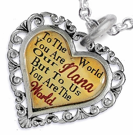 "<BR>         <i>""TO THE WORLD YOU ARE OUR NANA,     <BR>                  BUT TO US YOU ARE THE WORLD""</i>    <BR>          BEAUTIFUL WORDS, BEAUTIFUL NECKLACE   <BR> HYPOALLERGENIC, NICKEL, LEAD, CADMIUM  FREE!    <BR>   W1820N1 - ""NANA"" HEART CHARM ON CHAIN LINK   <BR>          NECKLACE FROM $7.90 TO $12.50 �2016"