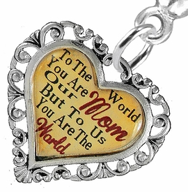 "<BR>             <i>""TO THE WORLD YOU ARE OUR MOM,        <BR>                  BUT TO US YOU ARE THE WORLD""</i>       <BR>          BEAUTIFUL WORDS, BEAUTIFUL EARRINGS <BR> HYPOALLERGENIC, NICKEL, LEAD, CADMIUM  FREE!       <BR> W1821E2 - ""MOM"" HEART CHARM ON SOLID POST    <BR>    STYLE EARRINGS FROM $7.90 TO $12.50 �2016"