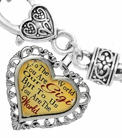 "<BR>            <i>""TO THE WORLD YOU ARE OUR GIGI,   <BR>                   BUT TO US YOU ARE THE WORLD""</i>  <BR>          BEAUTIFUL WORDS, BEAUTIFUL BRACELET  <BR> HYPOALLERGENIC, NICKEL, LEAD, CADMIUM  FREE!  <BR> W1824B1 - ""GIGI"" HEART CHARM ON WHEAT CHAIN   <BR>          BRACELET FROM $7.90 TO $12.50 �2016"