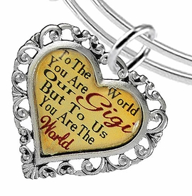 "<BR>            <i>""TO THE WORLD YOU ARE OUR GIGI,    <BR>                   BUT TO US YOU ARE THE WORLD""</i>   <BR>          BEAUTIFUL WORDS, BEAUTIFUL BRACELET   <BR> HYPOALLERGENIC, NICKEL, LEAD, CADMIUM FREE!   <BR>W1824B9 - ""GIGI"" HEART CHARM ON ADJUSTABLE THIN <BR>MIRACLE WIRE BRACELET FROM $7.90 TO $12.50 �2016"