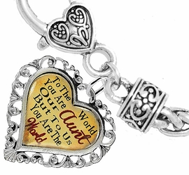 "<BR>            <i>""TO THE WORLD YOU ARE OUR AUNT,   <BR>                   BUT TO US YOU ARE THE WORLD""</i>  <BR>          BEAUTIFUL WORDS, BEAUTIFUL BRACELET  <BR> HYPOALLERGENIC, NICKEL, LEAD, CADMIUM  FREE!  <BR> W1825B1 - ""AUNT"" HEART CHARM ON WHEAT CHAIN   <BR>          BRACELET FROM $7.90 TO $12.50 �2016"