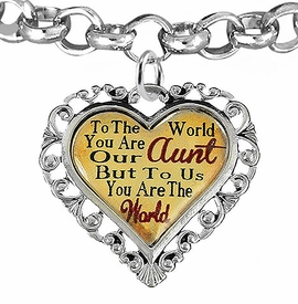 "<BR>            <i>""TO THE WORLD YOU ARE OUR AUNT,    <BR>                   BUT TO US YOU ARE THE WORLD""</i>   <BR>          BEAUTIFUL WORDS, BEAUTIFUL BRACELET   <BR> HYPOALLERGENIC, NICKEL, LEAD, CADMIUM  FREE!   <BR> W1825B2 - ""AUNT"" HEART CHARM ON ROLO CHAIN    <BR>          BRACELET FROM $7.90 TO $12.50 �2016"