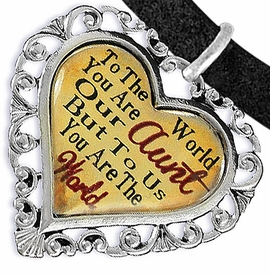 "<BR>            <i>""TO THE WORLD YOU ARE OUR AUNT,    <BR>                   BUT TO US YOU ARE THE WORLD""</i>   <BR>          BEAUTIFUL WORDS, BEAUTIFUL BRACELET   <BR> HYPOALLERGENIC, NICKEL, LEAD, CADMIUM  FREE!   <BR> W1825B3 - ""AUNT"" HEART CHARM ON BLACK SUEDE    <BR>          BRACELET FROM $7.90 TO $12.50 �2016"