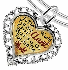 "<BR>            <i>""TO THE WORLD YOU ARE OUR AUNT,    <BR>                   BUT TO US YOU ARE THE WORLD""</i>   <BR>          BEAUTIFUL WORDS, BEAUTIFUL BRACELET   <BR> HYPOALLERGENIC, NICKEL, LEAD, CADMIUM  FREE!   <BR> W1825B9 - ""AUNT"" HEART CHARM ON ADJUSTABLE THIN  <BR>MIRACLE WIRE BRACELET FROM $7.90 TO $12.50 �2016"