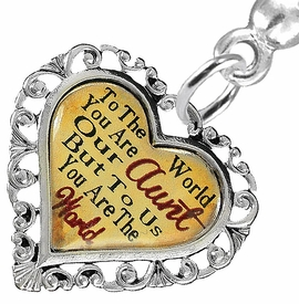 "<BR>           <i>""TO THE WORLD YOU ARE OUR AUNT,         <BR>                  BUT TO US YOU ARE THE WORLD""</i>        <BR>          BEAUTIFUL WORDS, BEAUTIFUL EARRINGS  <BR> HYPOALLERGENIC, NICKEL, LEAD, CADMIUM  FREE!        <BR>    W1825E2 - ""AUNT"" HEART CHARM ON SOLID POST      <BR>    STYLE EARRINGS FROM $7.90 TO $12.50 �2016"