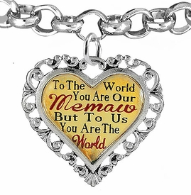 "<BR>            <i>""TO THE WORLD YOU ARE OUR MEMAW,    <BR>                   BUT TO US YOU ARE THE WORLD""</i>   <BR>          BEAUTIFUL WORDS, BEAUTIFUL BRACELET   <BR> HYPOALLERGENIC, NICKEL, LEAD, CADMIUM  FREE!   <BR> W1826B2 - ""MEMAW"" HEART CHARM ON ROLO CHAIN    <BR>    LINK BRACELET FROM $7.90 TO $12.50 �2016"