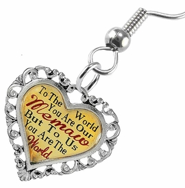 "<BR>           <i>""TO THE WORLD YOU ARE OUR MEMAW,         <BR>                  BUT TO US YOU ARE THE WORLD""</i>        <BR>          BEAUTIFUL WORDS, BEAUTIFUL EARRINGS  <BR> HYPOALLERGENIC, NICKEL, LEAD, CADMIUM  FREE!        <BR>    W1826E1 - ""MEMAW"" HEART CHARM ON FISH HOOK     <BR>    STYLE EARRINGS FROM $7.90 TO $12.50 �2016"