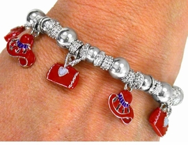 W1840B-NEW RED HAT & HANDBAG<BR> CHARM BRACELET AS LOW AS $5.15