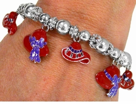W1841B-NEW! RED HAT CHARM<BR>  BRACELET AS LOW AS $5.15