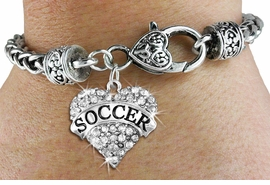 "<BR>     WHOLESALE FASHION HEART JEWELRY <bR>                   EXCLUSIVELY OURS!! <Br>              AN ALLAN ROBIN DESIGN!!  <BR>        LEAD, NICKEL & CADMIUM FREE!! <BR>   W1583SB - ANTIQUED SILVER TONE AND <BR>CLEAR CRYSTAL ""SOCCER"" HEART CHARM <BR>   BRACELET FROM $5.40 TO $9.85 �2014<BR>        PICTURED ABOVE ""WHEAT CHAIN <BR>                  HEART LOBSTER BRACELET"
