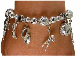 <bR>   W1891B - SILVER TONE BEACH <BR>VOLLEYBALL STRETCH BRACELET<Br>                  AS LOW AS $5.63
