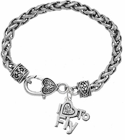 w1907b1<br>I Love To Fly Crystal Charm On<br> Hypoallergenic Wheat Chain Charm Bracelet<br> Nickel, Lead, And Cadmium Free